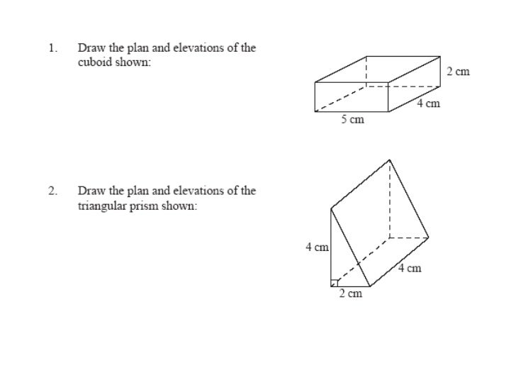 Plan And Front Elevation Of A Solid Shape : Plans and elevations