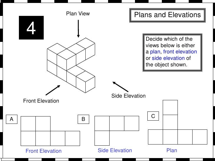 Plan Front Elevation Side Elevation Maths : Plans and elevations from whiteboard maths