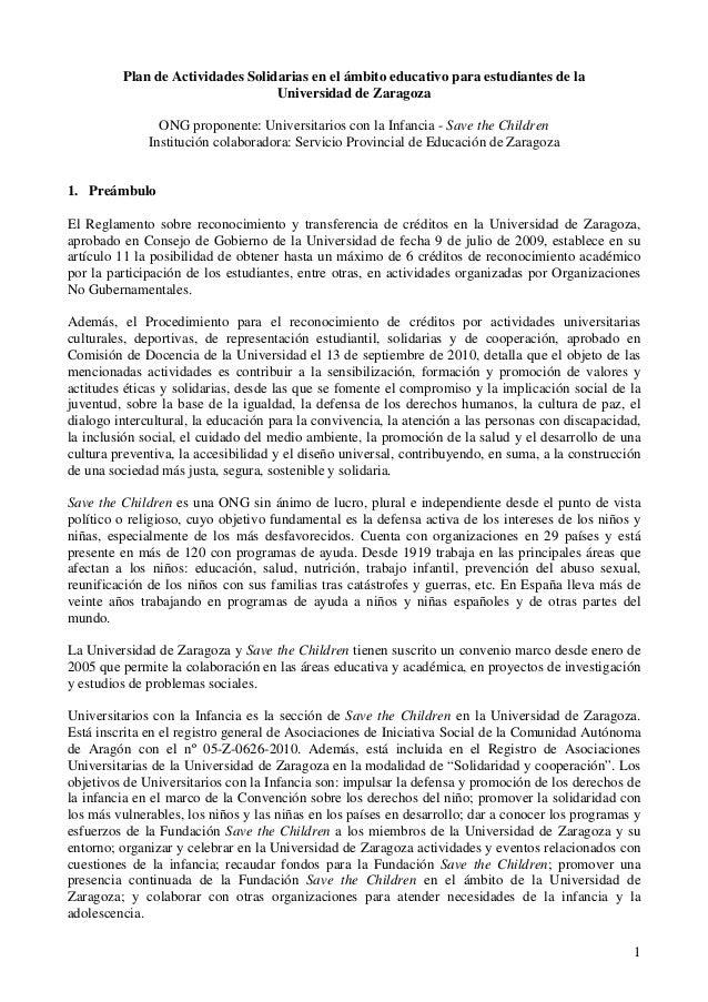 Plan de Actividades Solidarias en el ámbito educativo para estudiantes de la                                  Universidad ...