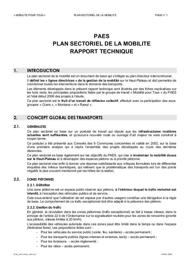 « MOBILITE POUR TOUS » PLAN SECTORIEL DE LA MOBILITE PAGE n° 1 PLAN_SECTORIEL_DEF.DOC AVRIL 2006 PAES PLAN SECTORIEL DE LA...