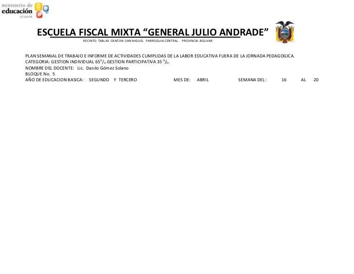 """ESCUELA FISCAL MIXTA """"GENERAL JULIO ANDRADE""""                        RECINTO: TABLAS CANTON: SAN MIGUEL PARROQUIA CENTRAL  ..."""