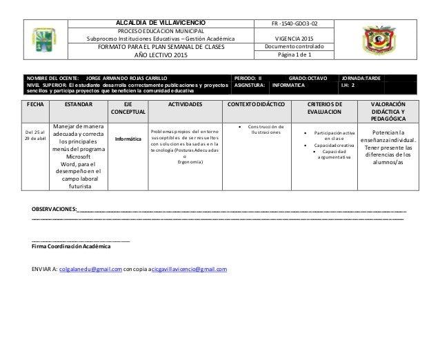 ALCALDIA DE VILLAVICENCIO FR -1540-GDO3-02 PROCESO EDUCACION MUNICIPAL Subproceso Instituciones Educativas – Gestión Acadé...