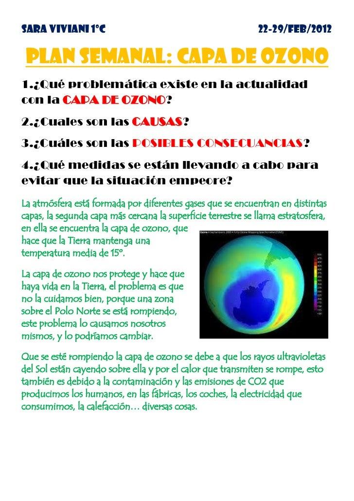 SARA VIVIANI 1ºC                                              22-29/FEB/2012 PLAN SEMANAL: CAPA DE OZONO1.¿Qué problemátic...