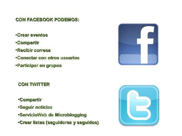 CON FACEBOOK PODEMOS:●   Crear eventos●   Compartir●   Recibir correos●   Conectar con otros usuarios●   Participar en gru...