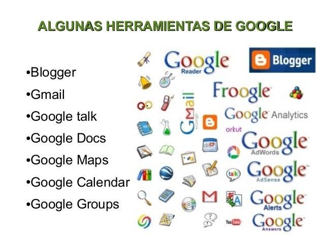 ALGUNAS HERRAMIENTAS DE GOOGLEBlogger●Gmail●Google talk●Google Docs●Google Maps●Google Calendar●Google Groups●