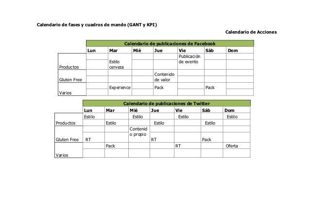 Calendario de fases y cuadros de mando (GANT y KPI) Calendario de Acciones Calendario de publicaciones de Facebook Lun Mar...