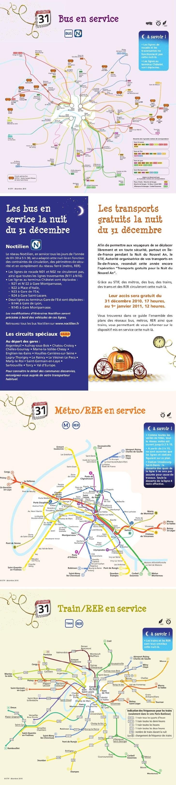 Plans transports gratuits 31 decembre 2010 au 1er janvier 2011