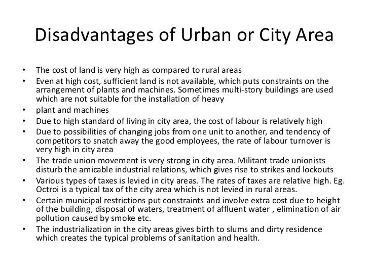 disadvantages of urbanisation The impacts of urban renewal: the residents' experiences in qianmen, beijing, china by yongxia kou a dissertation submitted in partial fulfillment of the.
