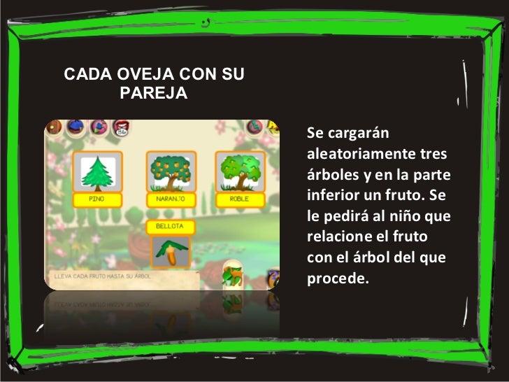 Se cargarán aleatoriamente tres árboles y en la parte inferior un fruto. Se le pedirá al niño que relacione el fruto con e...