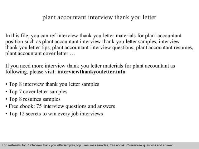 Plant Accountant Interview Thank You Letter In This File, You Can Ref  Interview Thank You ...