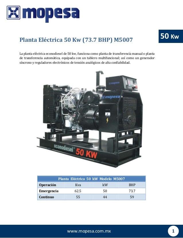 1www.mopesa.com.mx 50 Kw Planta Eléctrica 50 kW Modelo M5007 Operación Kva kW BHP Emergencia 62.5 50 73.7 Continuo 55 44 5...