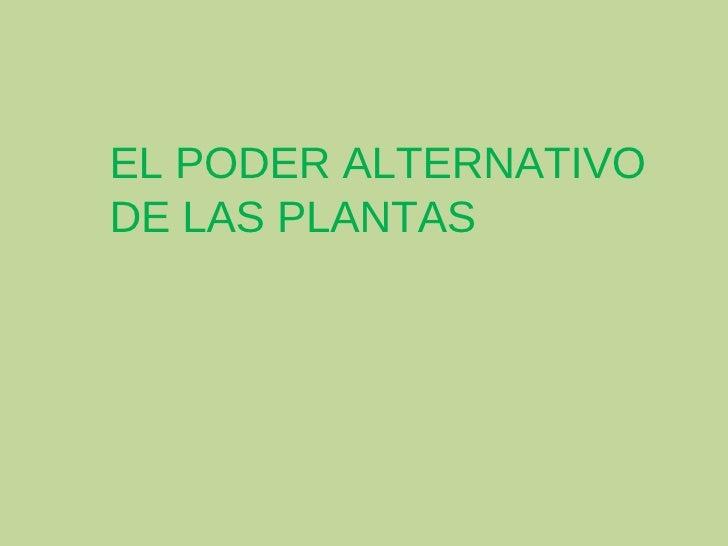 EL PODER ALTERNATIVO DE LAS PLANTAS