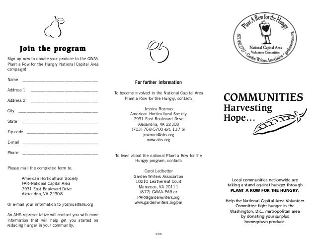 b        Join the programSign up now to donate your produce to the GWA'sPlant a Row for the Hungry National Capital Areaca...