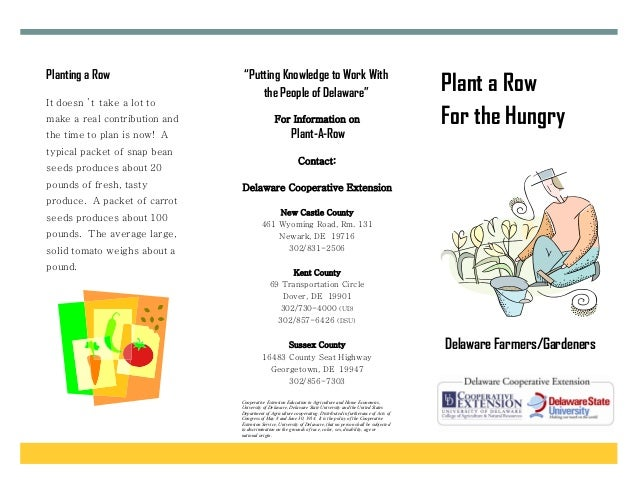 """Planting a Row                  """"Putting Knowledge to Work With                                    the People of Delaware""""..."""