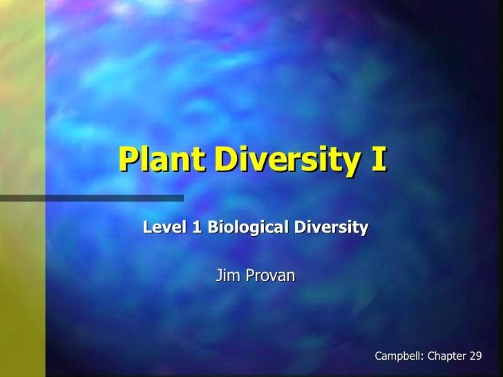 Plant Diversity I Level 1 Biological Diversity Jim Provan Campbell: Chapter 29