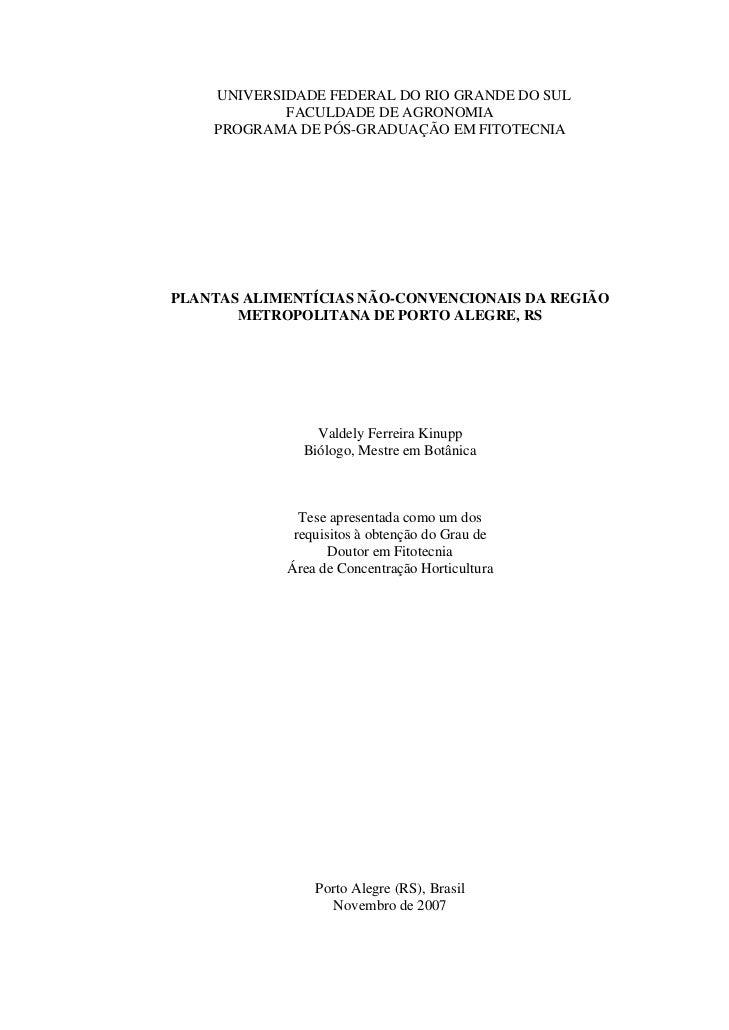 UNIVERSIDADE FEDERAL DO RIO GRANDE DO SUL            FACULDADE DE AGRONOMIA    PROGRAMA DE PÓS-GRADUAÇÃO EM FITOTECNIAPLAN...