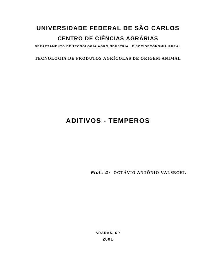 UNIVERSIDADE FEDERAL DE SÃO CARLOS                 CENTRO DE CIÊNCIAS AGRÁRIAS D E P AR T AM E N T O D E T E C N O L O G I...