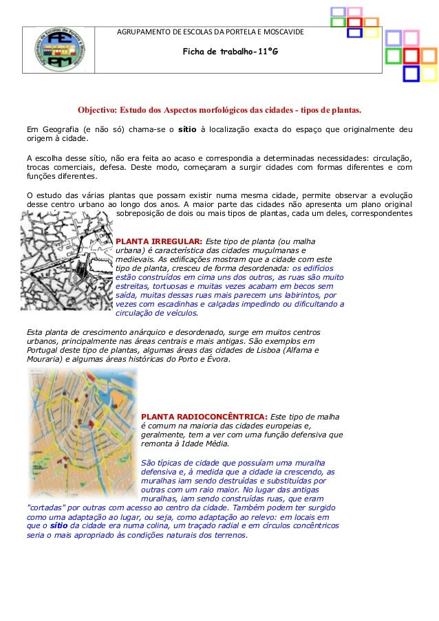 5ffec4f5e6 AGRUPAMENTO DE ESCOLAS DA PORTELA E MOSCAVIDE Ficha de trabalho-11ºG  Objectivo  Estudo dos ...