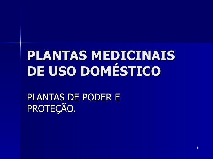PLANTAS MEDICINAIS DE USO DOMÉSTICO PLANTAS DE PODER E PROTEÇÃO.