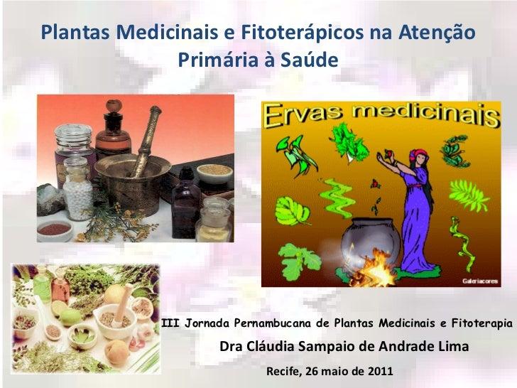 Plantas Medicinais e Fitoterápicos na Atenção              Primária à Saúde            III Jornada Pernambucana de Plantas...