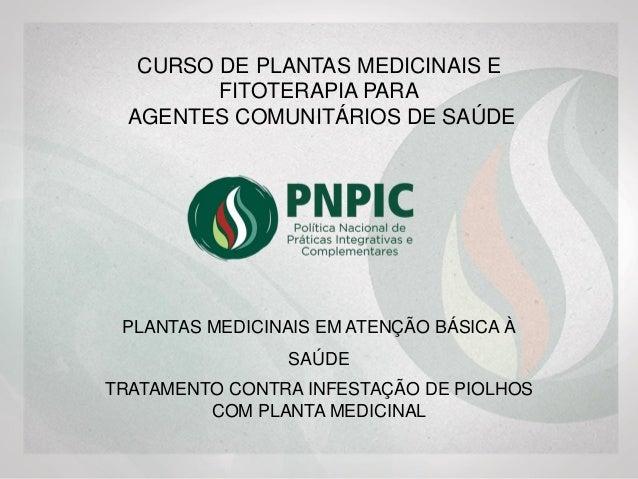 PLANTAS MEDICINAIS EM ATENÇÃO BÁSICA À SAÚDE CURSO DE PLANTAS MEDICINAIS PARA AGENTES COMUNITÁRIOS DE SAÚDE TRATAMENTO CON...
