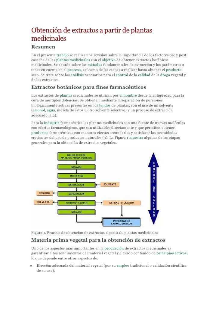 Obtención de extractos a partir de plantas medicinales<br />Resumen<br />En el presente trabajo se realiza una revisión so...