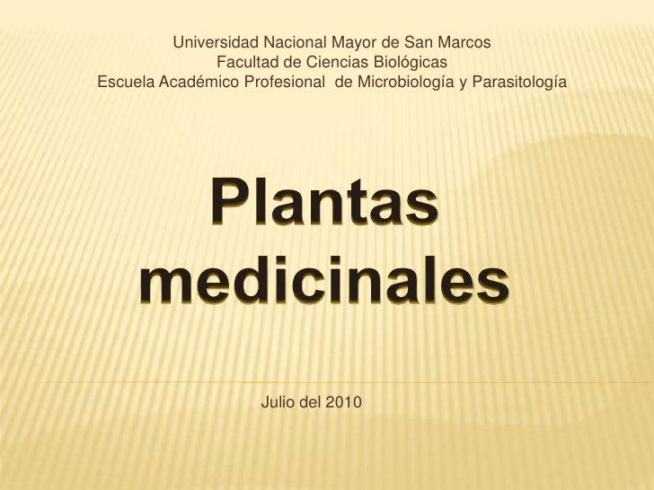 Universidad Nacional Mayor de San Marcos<br />Facultad de Ciencias Biológicas<br />Escuela Académico Profesional  de Micro...