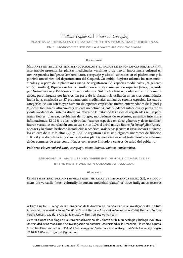 William Trujillo-C. | Victor H. Gonzalez   PLAntAS MedicinALeS UtiLizAdAS PoR tReS coMUnidAdeS indígenAS                en...