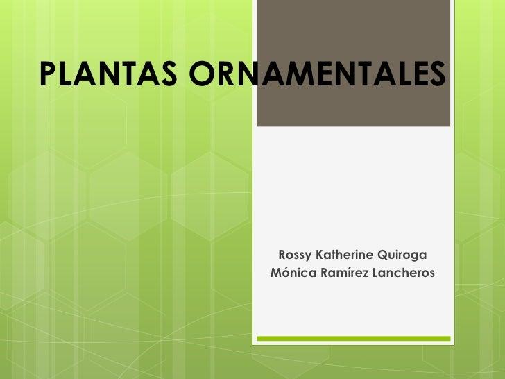 PLANTAS ORNAMENTALES Rossy Katherine Quiroga Mónica Ramírez