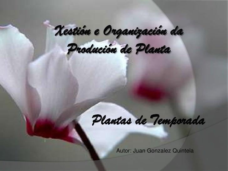 Xestión e Organización da Produción de Planta<br />Plantas de Temporada<br />Autor: Juan Gonzalez Quintela<br />