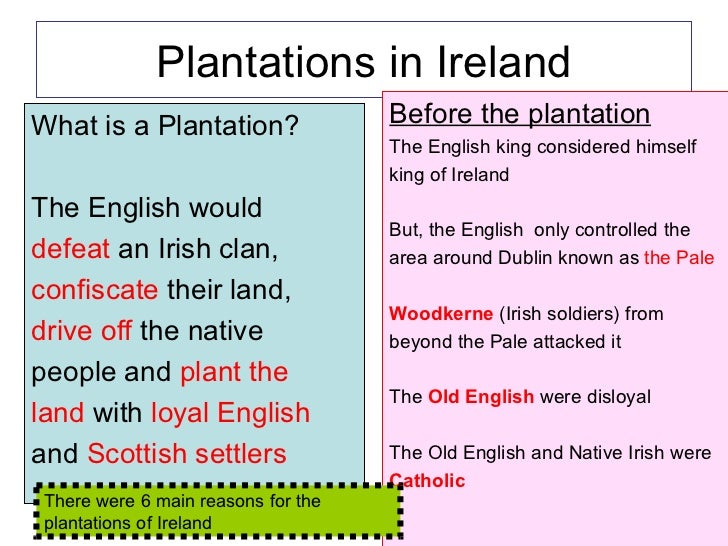 Plantations in Ireland <ul><li>What is a Plantation? </li></ul><ul><li>The English would </li></ul><ul><li>defeat  an Iris...