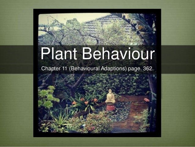 Plant Behaviour Chapter 11 (Behavioural Adaptions) page. 362.