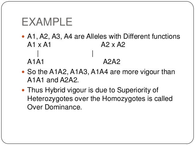 EXAMPLE A1, A2, A3, A4 are Alleles with Different functions  A1 x A1                A2 x A2     |                |  A1A1 ...