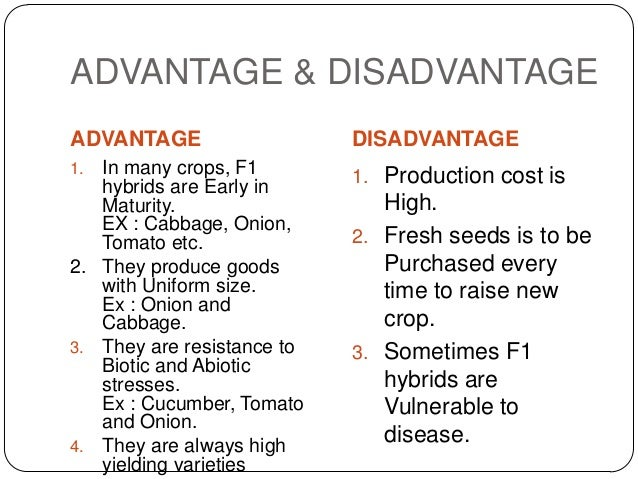 ADVANTAGE & DISADVANTAGEADVANTAGE                   DISADVANTAGE1. In many crops, F1        1. Production cost is   hybrid...