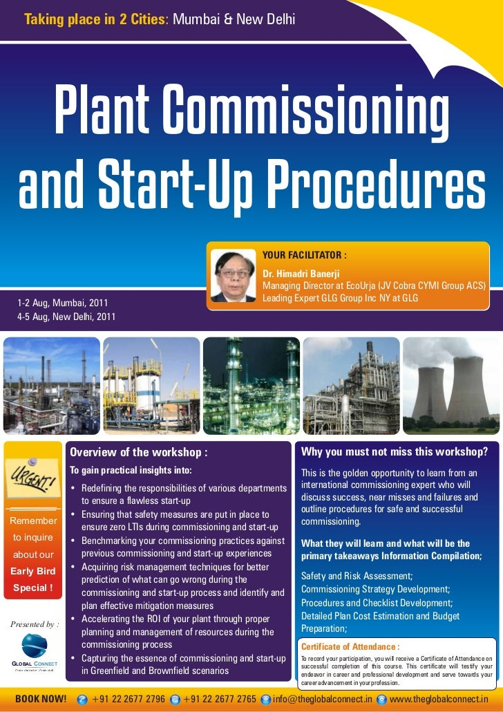 Plant commissioning and start up procedures