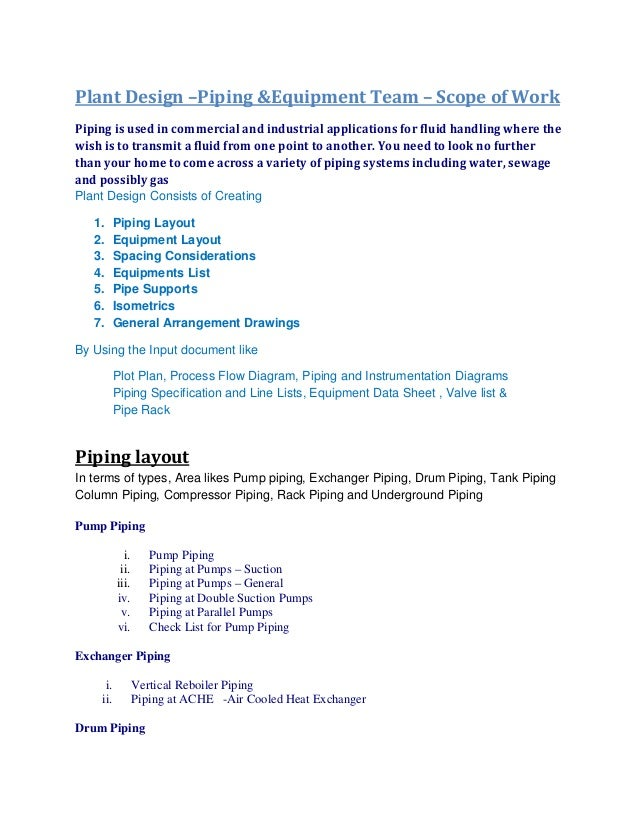 marketing scope of work template - plant design piping equipment team scope of work