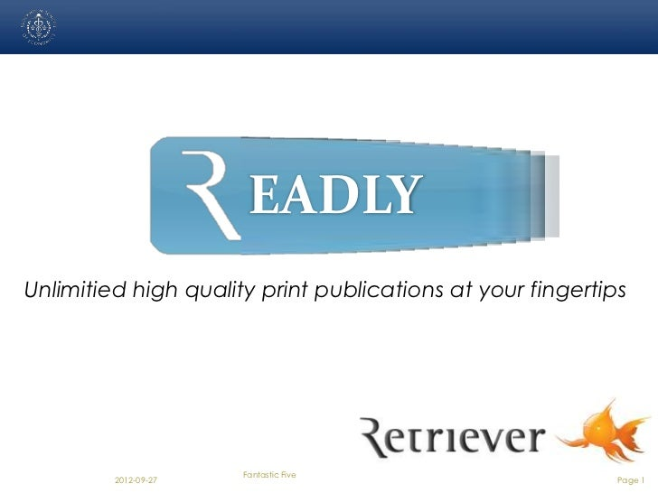 EADLYUnlimitied high quality print publications at your fingertips                      Fantastic Five         2012-09-27 ...