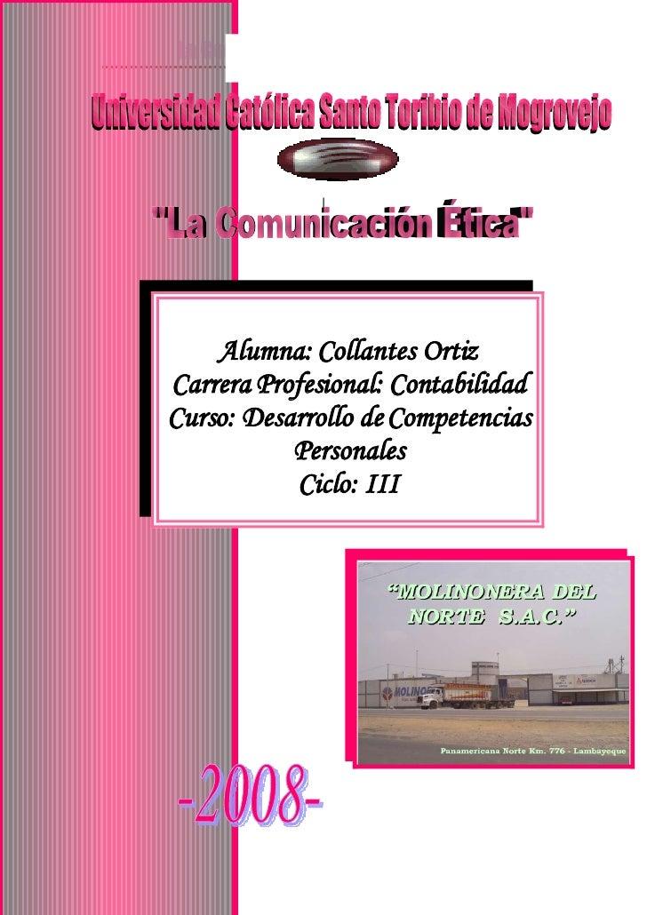 |         Alumna: Collantes Ortiz Carrera Profesional: Contabilidad Curso: Desarrollo de Competencias            Personale...