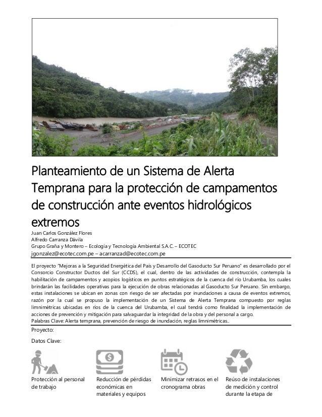 Planteamiento de un Sistema de Alerta Temprana para la protección de campamentos de construcción ante eventos hidrológicos...