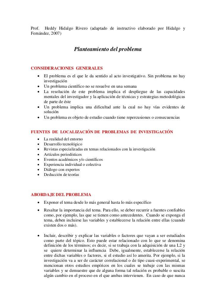 Prof. Heddy Hidalgo Rivero (adaptado de instructivo elaborado por Hidalgo yFernández, 2007)                         Plante...