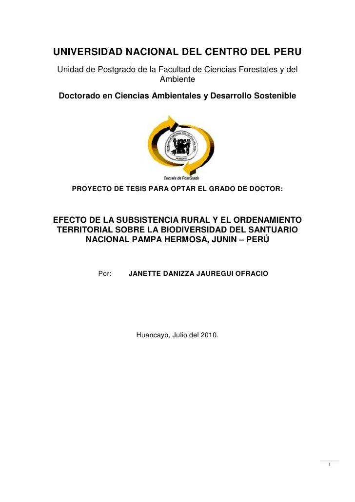 UNIVERSIDAD NACIONAL DEL CENTRO DEL PERU<br />Unidad de Postgrado de la Facultad de Ciencias Forestales y del Ambiente<br ...