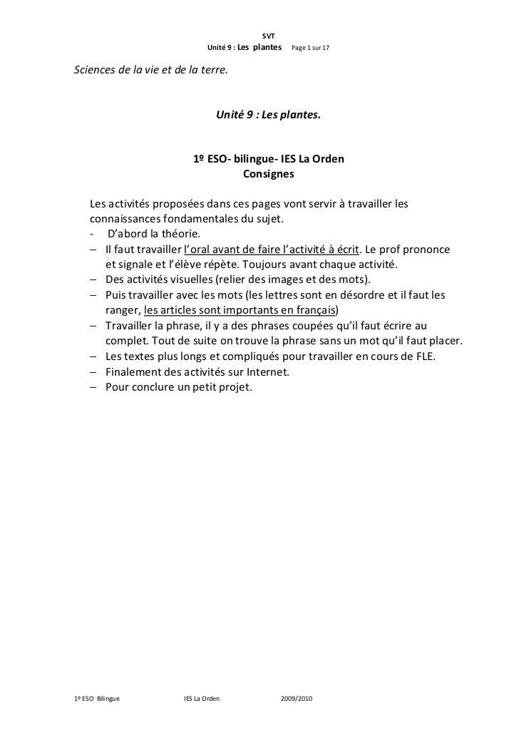 SVT                               Unité 9 : Les plantes   Page 1 sur 17Sciences de la vie et de la terre.                 ...