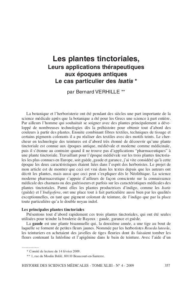 Les plantes tinctoriales, Leurs applications thérapeutiques aux époques antiques Le cas particulier des Isatis * par Berna...