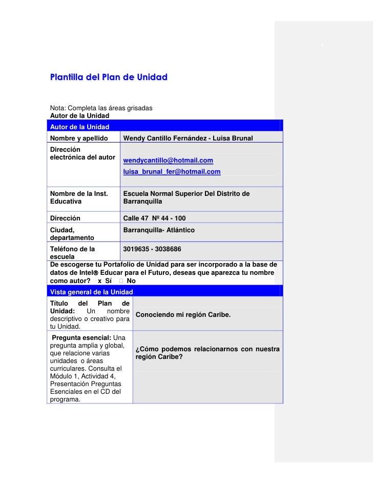 1Plantilla del Plan de UnidadNota: Completa las áreas grisadasAutor de la UnidadAutor de la UnidadNombre y apellido       ...