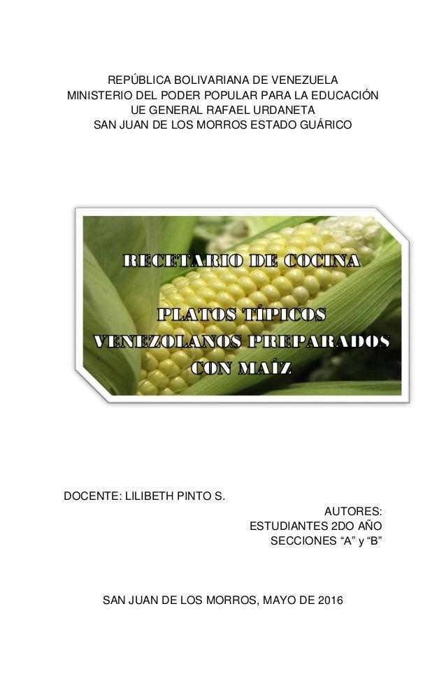 Plantilla libro recetario maíz