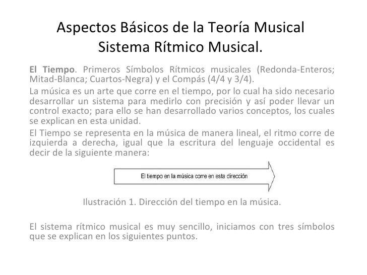 Aspectos Básicos de la Teoría Musical Sistema Rítmico Musical. El Tiempo . Primeros Símbolos Rítmicos musicales (Redonda-E...