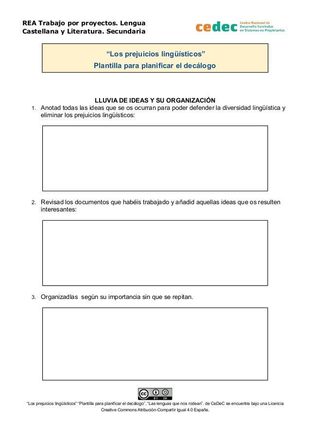 Prejuicios lingüísticos (Plantilla para planificar un decálogo)