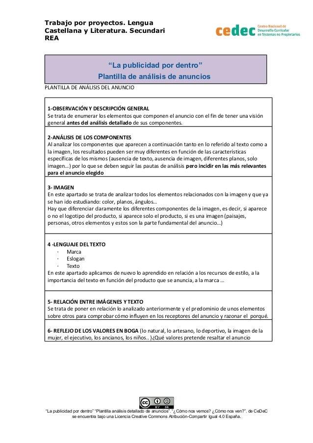 """Trabajo por proyectos. Lengua Castellana y Literatura. Secundari REA """"La publicidad por dentro"""" Plantilla de análisis de a..."""