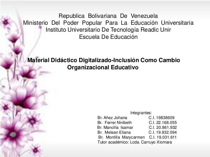 Republica Bolivariana De VenezuelaMinisterio Del Poder Popular Para La Educación Universitaria         Instituto Universit...