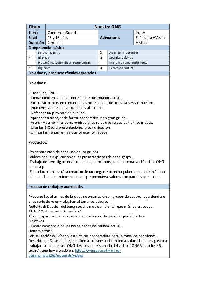 Título Nuestra ONG Tema Conciencia Social Inglés Edad 15 y 16 años Asignaturas E. Plástica y Visual Duración 2 meses Histo...